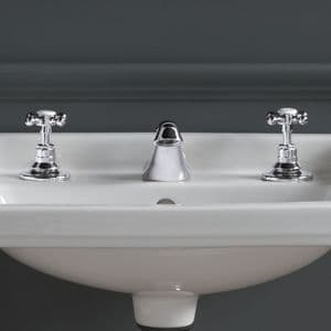 Healey & Lord Classic Collection Deck-Mounted 3 Tap Hole Basin Mixer Tap with Pop-Up Basin Waste